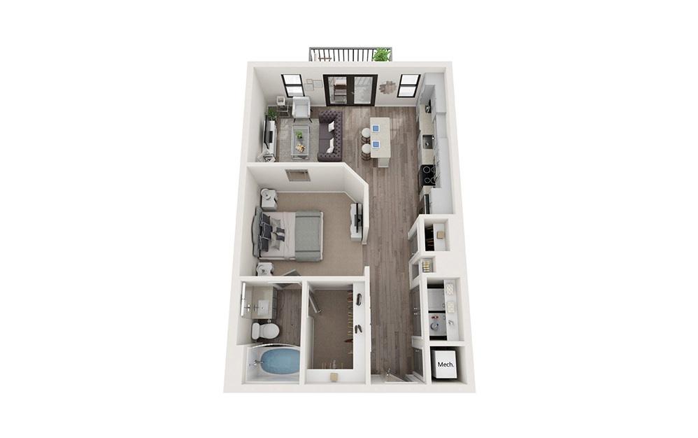 A1 1 Bedroom 1 Bath Floorplan