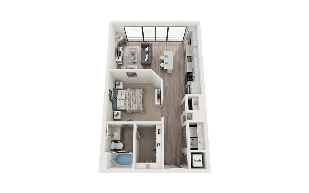 A1A 1 Bedroom 1 Bath Floorplan
