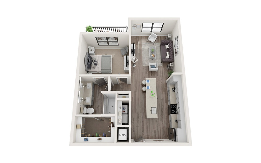 A4 1 Bedroom 1 Bath Floorplan