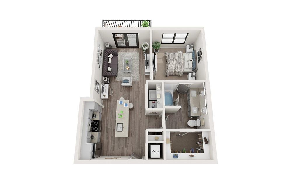A5 1 Bedroom 1 Bath Floorplan